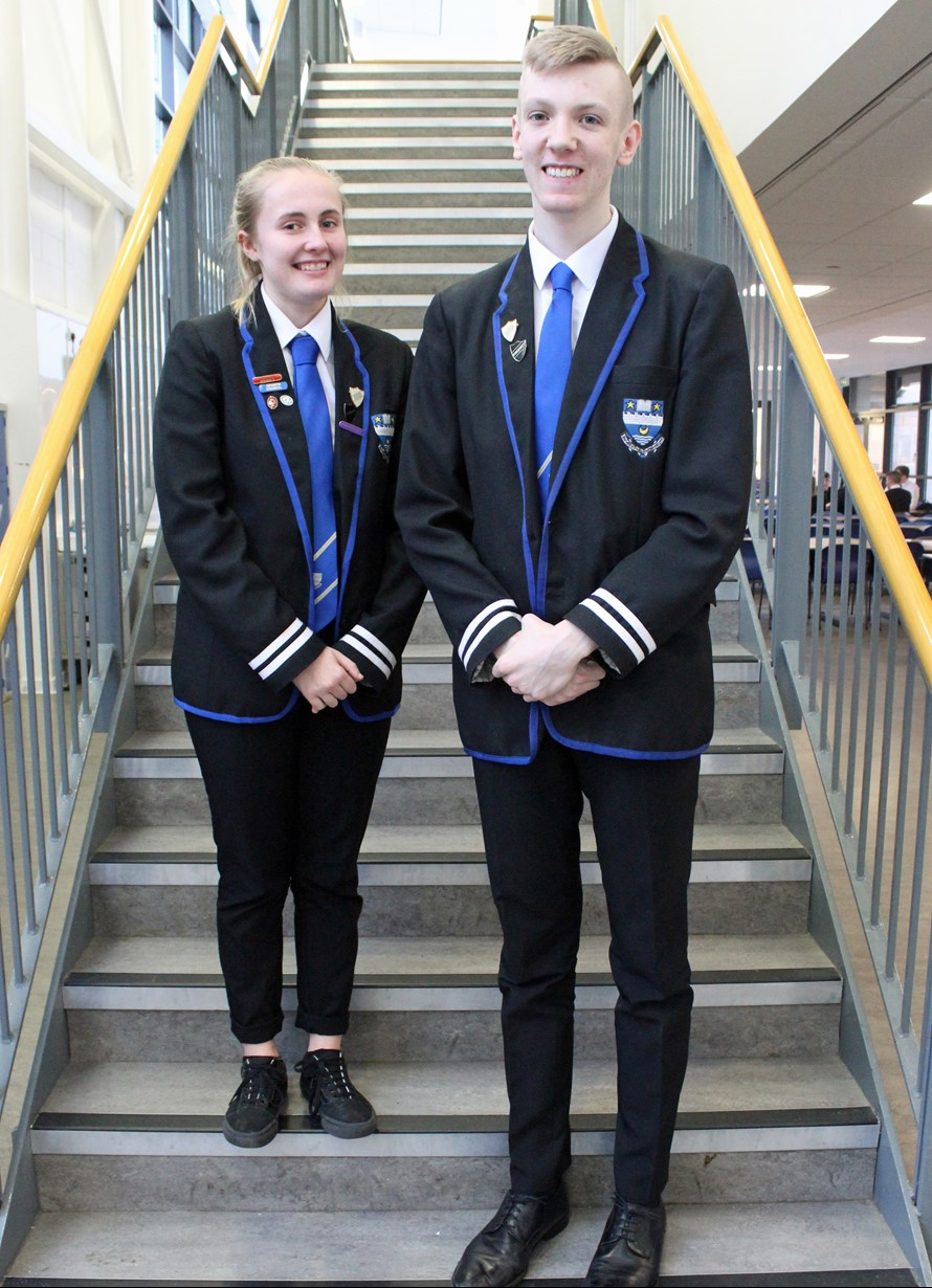 image of school captains on stairs